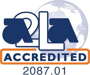 American association of laboratory accreditation certified logo.